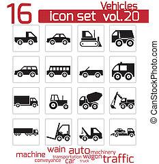 vector, vehículo, conjunto, negro, icono