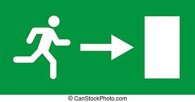 vector, veiligheid, pictogram, teken., ontsnapping, rennende , evacuatie, deur, man, afslaf, helpen, symbool.