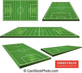 vector, velden, voetbal, vrijstaand, verzameling, infographic, groene, white., mal