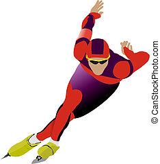 vector, velocidad, ilustración, skating.