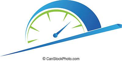 vector, velocidad, metro, rápido, odómetro