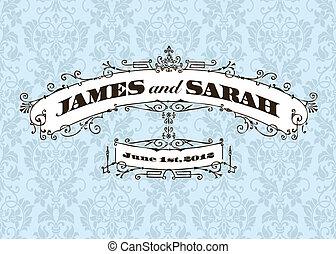 vector, vendimia, boda, marco, y, plano de fondo