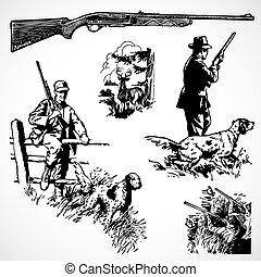 vector, vendimia, caza, rifles, y, gráficos