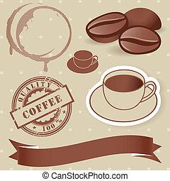 vector, vendimia, conjunto de café, elements.