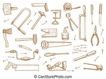 vector, vendimia, conjunto, herramientas, acción
