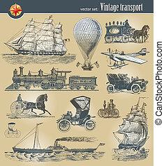 vector, vendimia, conjunto, transporte, histórico