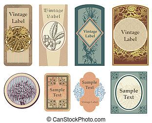 vector, vendimia, etiquetas