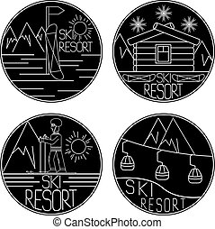 vector, vendimia, etiquetas, recurso, arte, línea, esquí