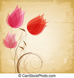 vector, vendimia, flores