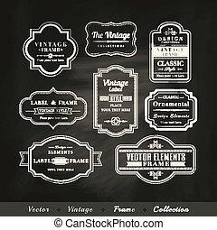 vector, vendimia, marco, conjunto, en, pizarra, plano de fondo, calligraphic, diseñe elementos