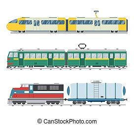 vector, vendimia, moderno, colección, trenes