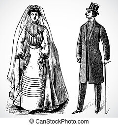vector, vendimia, novia y novio