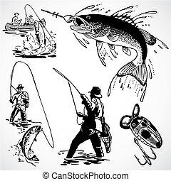 vector, vendimia, pesca, gráficos