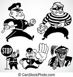 vector, vendimia, polis y ladrones