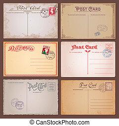 vector, vendimia, postales