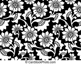 vector, -, vendimia, seamless, blanco, patrón floral