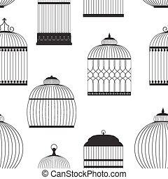 vector, vendimia,  seamless, Siluetas,  Illustrati, patrón, Jaulas de pájaros