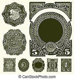 vector, vendimia, sellos, conjunto, español