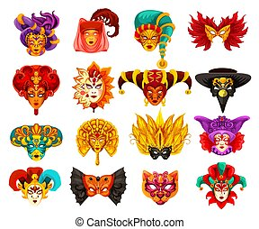 Vector Venetian carnival masquerade masks