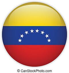 Venezuela Flag Glossy Button - Vector - Venezuela Flag...