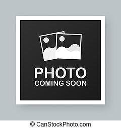 vector, venida, soon., imagen, foto, frame., ilustración, ...
