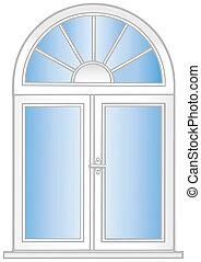 vector, ventana., ilustración, plástico