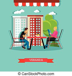 Vector veranda design element with people sitting at the...