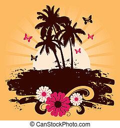 vector, verano, palmas, plano de fondo, ilustración