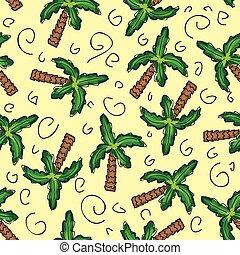 vector, verde, árboles de palma, seamless