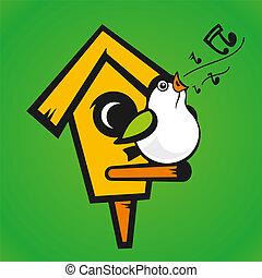 vector, verde,  Birdhouse, Plano de fondo