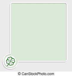 vector, verde, caja texto, con, hoja de trébol