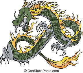 vector, verde, ilustración, dragón