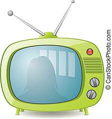 vector, verde, retro, conjunto de la tv