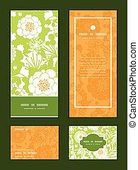 vector, verde, y, dorado, jardín, siluetas, vertical, marco,...