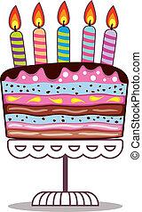 vector, verjaardagstaart, op, een, stander, met, burning, kaarsjes
