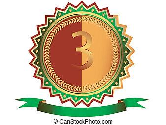 (vector), vert, ruban, étoiles, médaille, bronze