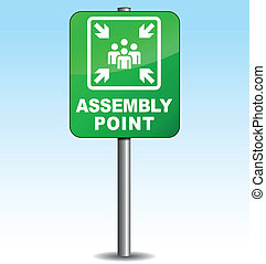 Vector vertical assembly point sign - Vector illustration of...