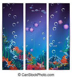 Vector vertical banner background with underwater cave.