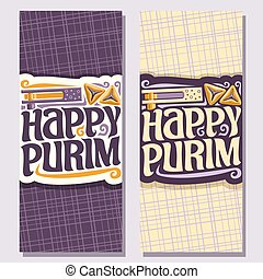 Vector vertical banner for Purim