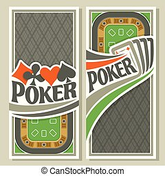 Vector logo of holdem Poker: four playing cards ace diamonds for gambling game on green felt table in casino club, vertical banner for pokers gamble games, card suits: spades, hearts, diamonds, clubs.