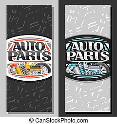Vector vertical banners for Auto Parts store, template with original lettering for words auto parts, illustrations of brake system, new air filter, gallon bottle of motor oil on abstract background.