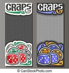 Vector vertical banners for Craps gamble