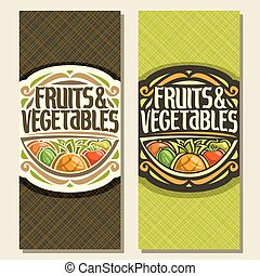 Vector vertical banners for Fruits and Vegetables