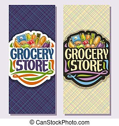 Vector vertical banners for Grocery Store, heap of fresh...