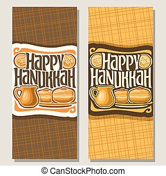 Vector vertical banners for Hanukkah