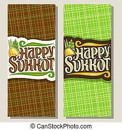 Vector vertical banners for jewish holiday Sukkot, templates...