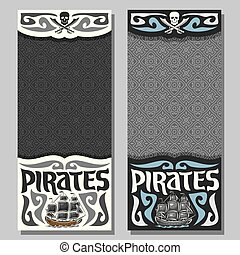 Vector vertical banners for Pirate theme