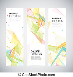Vector vertical banners set with polygonal abstract shapes,...