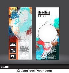 Vector vertical business banner set with abstract watercolor texture background. Vivid colorful collection, invitation, flyer, corporate identity layout.