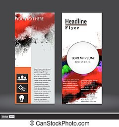 Vector vertical business banner set with abstract watercolor texture background. Vivid colorful collection, invitation, flyer, corporate identity layout. Grange multicolor design template.